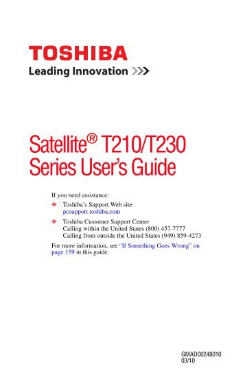 Satellite® T210/T230 Series User's Guide - Howard Computers