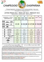 Listino prezzi 2012