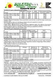 Listino e regolamento 2013