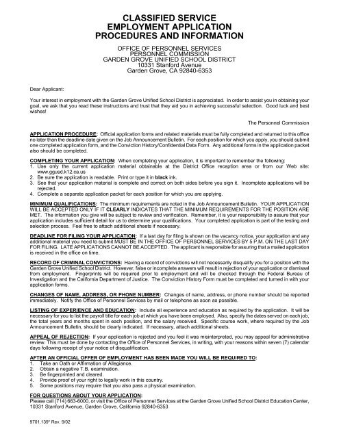 Classified Service Employment Application Garden Grove Unified