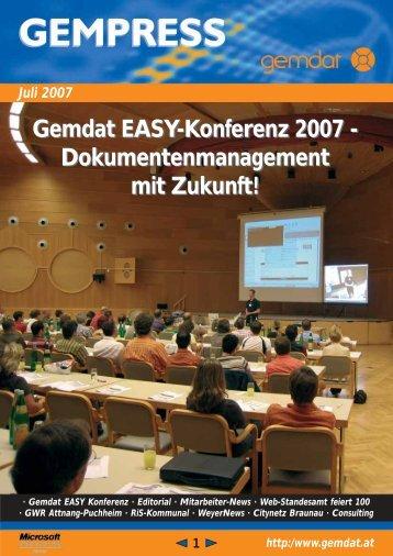 Gemdat EASY-Konferenz 2007 - Gemdat OÖ - RiSKommunal