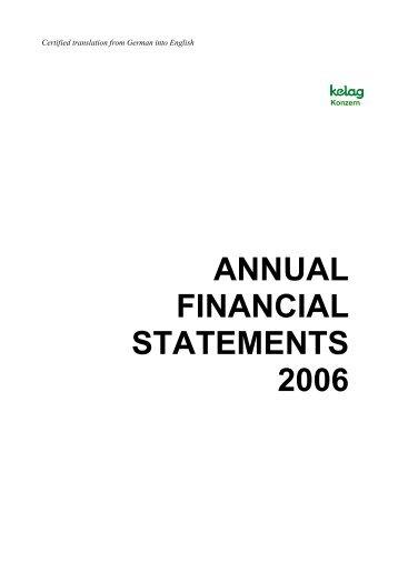 ANNUAL FINANCIAL STATEMENTS 2006 - Kelag