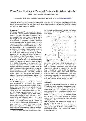 Power-Aware Routing and Wavelength Assignment in Optical ...