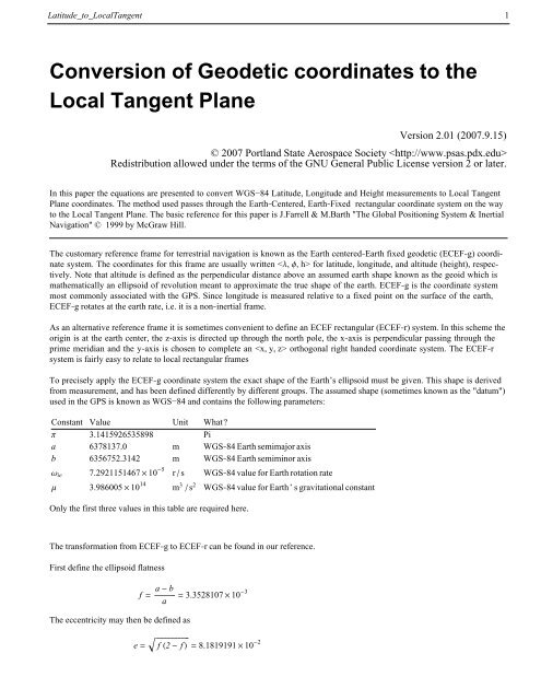 Conversion of Geodetic coordinates to the Local Tangent Plane