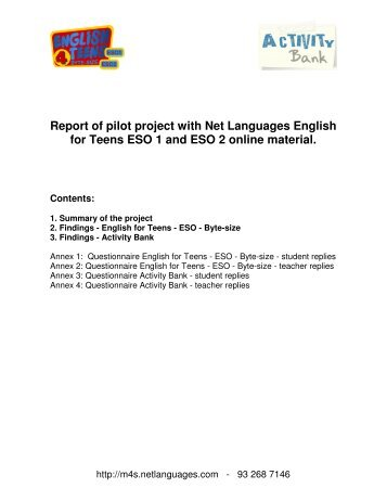 Report of pilot project with Net Languages English for Teens ... - Xtec