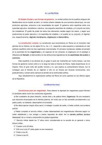 IV. LA POLÍTICA El EstadoCiudad y sus formas de gobierno ... - Xtec