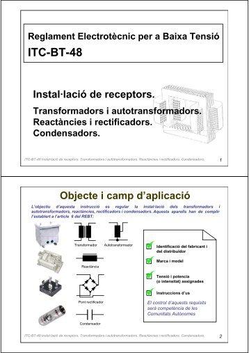 ITC-BT-48 Instal·lació de receptors. Transformadors i ... - Xtec