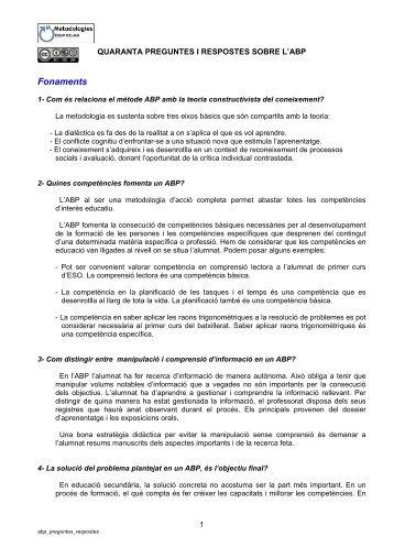 Quaranta preguntes i respostes sobre l'ABP - Xtec