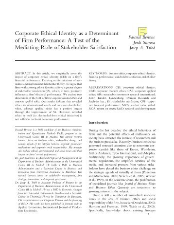 Corporate ethical identity as a determinant of firm performance: a ...