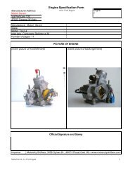 Engine Specification Form