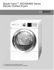 Bosch Vision _ 300/500/800 Electric Clothes Dryers ... - ManageMyLife