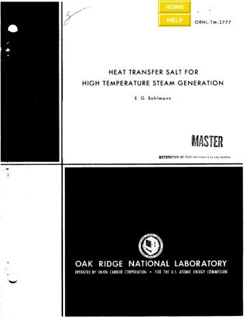 Heat Transfer Salt for High Temperature Steam Generation [Disc 6]