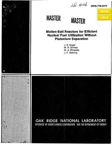 ORNL/TM-6413 - the Molten Salt Energy Technologies Web Site