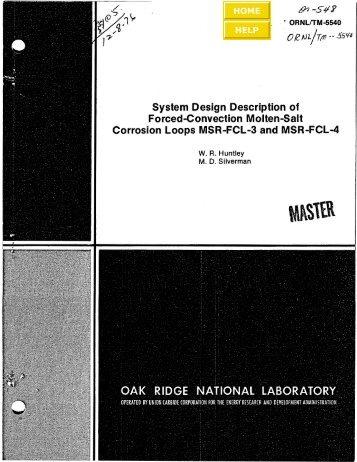 ORNL/TM-5540 - the Molten Salt Energy Technologies Web Site