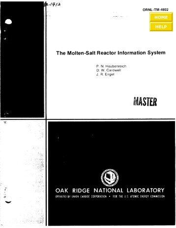 ORNL-TM-4802 - the Molten Salt Energy Technologies Web Site