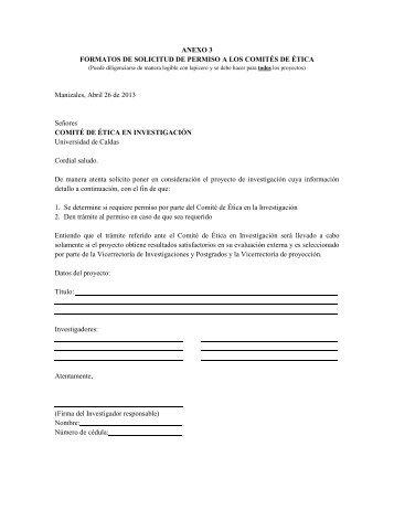 ANEXO 3 FORMATOS DE SOLICITUD DE PERMISO A LOS ...