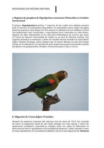 NOVEDADES EN HISTORIA NATURAL - revistas medicas mexicanas