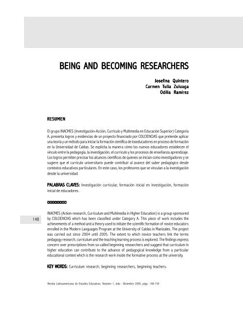 BEING AND BECOMING RESEARCHERS