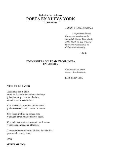 Poeta En Nueva York De Federico García Lorca