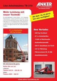 Lkw-Arbeitsbühne TB 270 - Anker - Kran- und ...