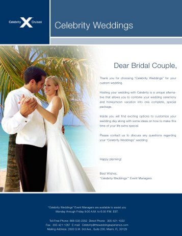 Dear Bridal Couple, - Celebrity Cruises