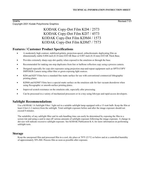 KODAK Copy-Dot Film KD4 / 2573 KODAK Copy-Dot Film ... - 125px