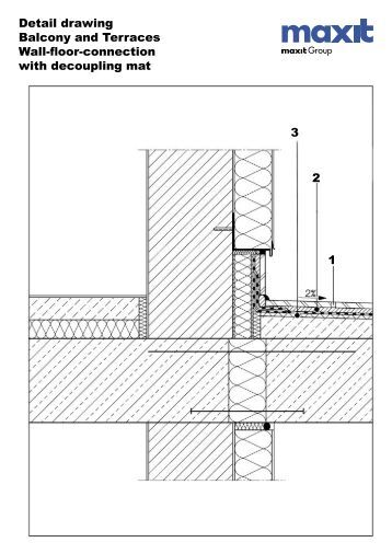 Detail drawing Wall-floor connection Flexible sealing