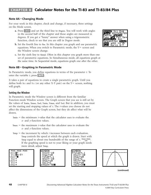 CHAPTER 8 Calculator Notes for the TI-83 and TI-83/84 Plus