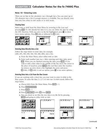 Calculator Notes for Casio fx-7400G Plus