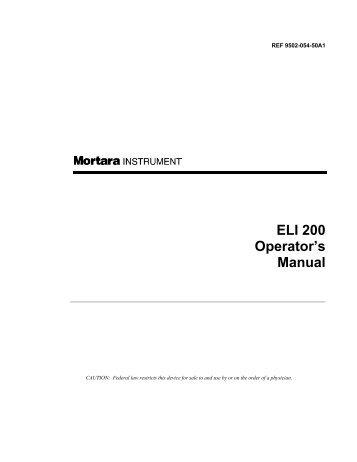 ELI 200 Operator's Manual