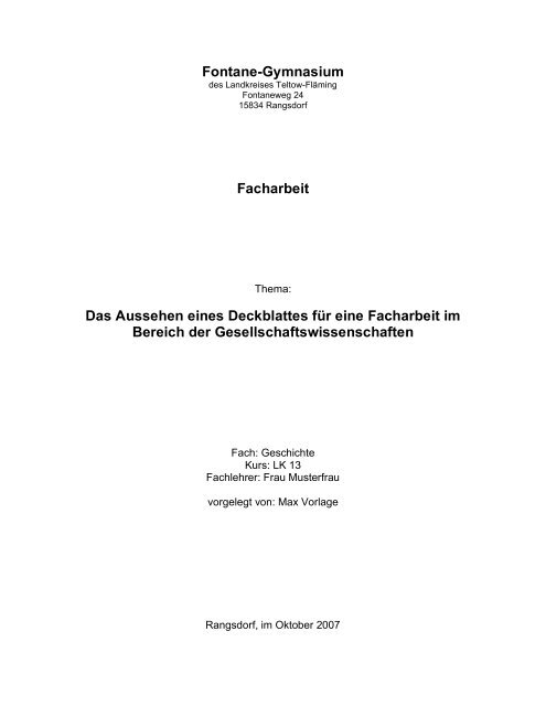 Fontane Gymnasium Facharbeit Das Aussehen Eines Deckblattes