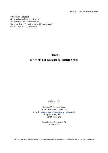 Hinweise zur Form der wissenschaftlichen Arbeit - Fachbereich ...