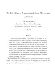 The Role of Sports Economics in the Sport Management Curriculum