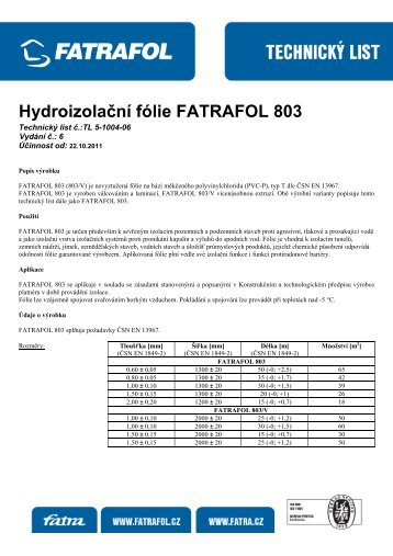 Hydroizolační fólie FATRAFOL 803 - Fatran
