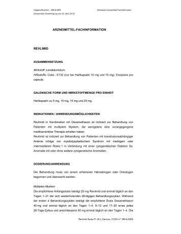 ARZNEIMITTEL-FACHINFORMATION REVLIMID - Celgene