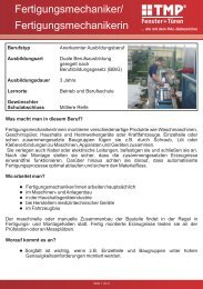 Fertigungsmechaniker - TMP Fenster + Türen