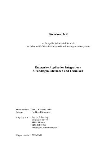 Bachelorarbeit Enterprise Application Integration - Grundlagen ...