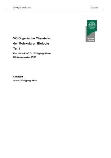 VO Organische Chemie in der molekularen Biologie I