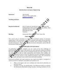 MECH 480 Introduction to Aerospace Engineering Instructor: Ugo ...