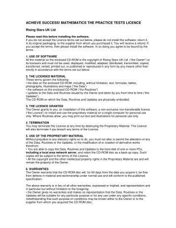 achieve success! mathematics the practice tests licence