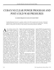 Cuba's Nuclear Power Program and Post-Cold War Pressures - CNS