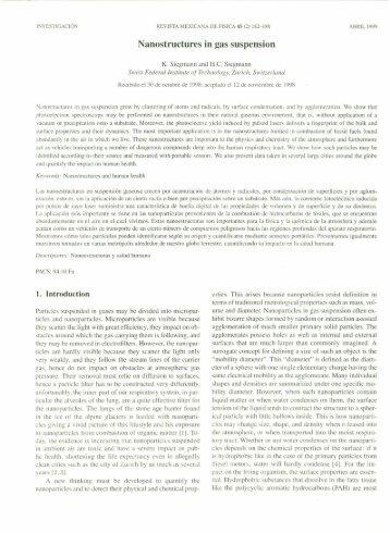 Nanostructurcs in gas suspension - Revista Mexicana de Física