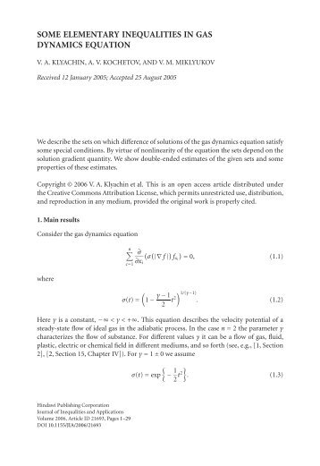 SOME ELEMENTARY INEQUALITIES IN GAS DYNAMICS EQUATION