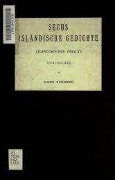 Sechs isländische Gedichte legendarischen Inhalts