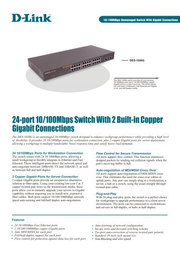 24-port 10/100Mbps Switch With 2 Built-in Copper Gigabit ...