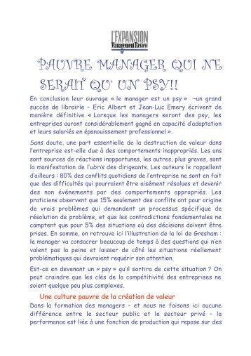 PAUVRE MANAGER QUI NE SERAIT QU' UN PSY! - Claude ROCHET
