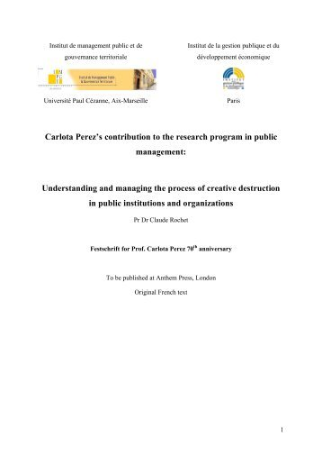Carlota Perez's contribution to the research ... - Claude ROCHET