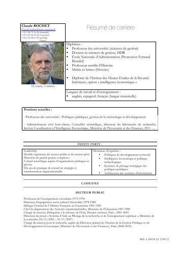 Résumé de carrière - Claude ROCHET