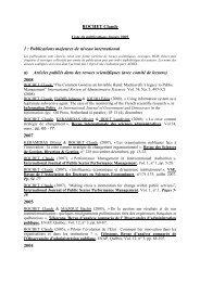 ROCHET Claude 1 : Publications majeures de niveau international ...