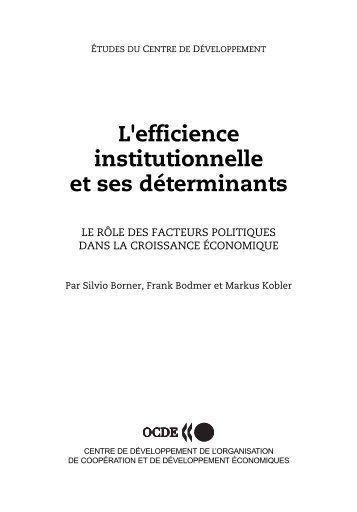 L'efficience institutionnelle et ses déterminants - Claude Rochet